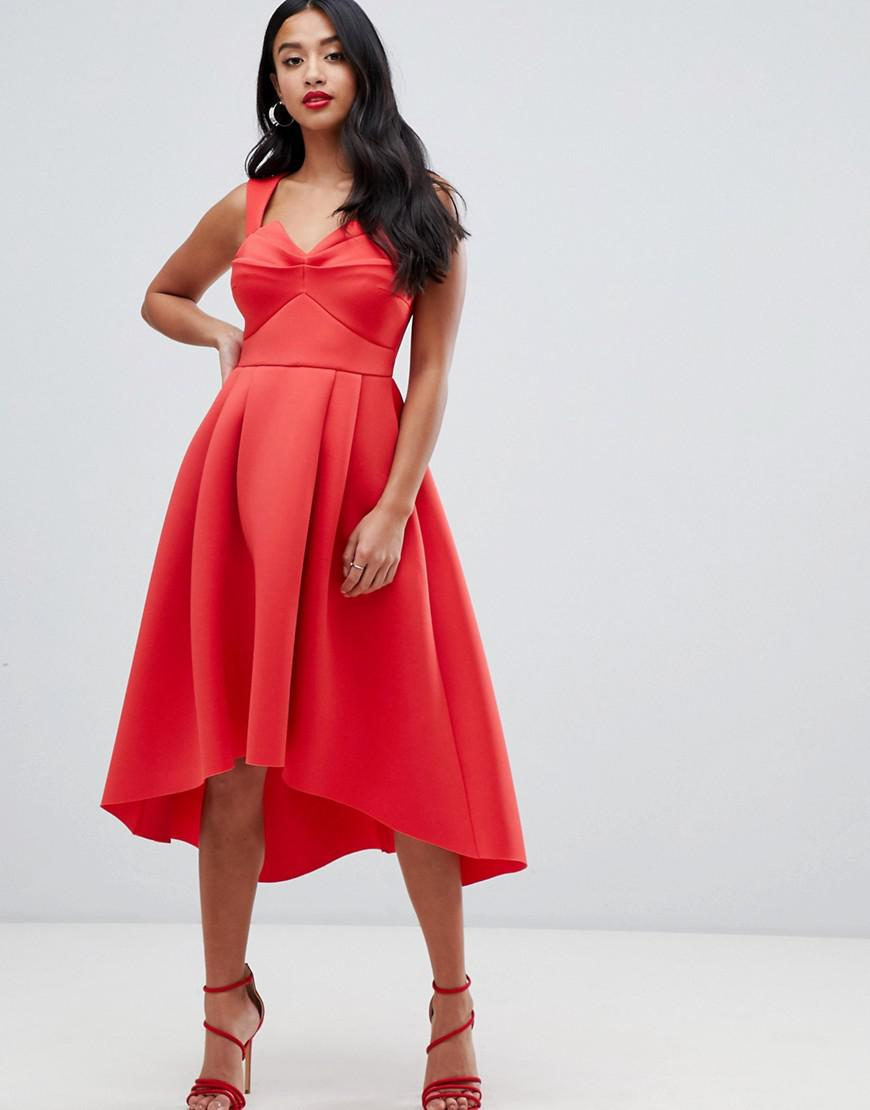 976c2ae74be4 Lyst - ASOS Asos Design Petite Ruched Bodice Midi Prom Dress in Pink