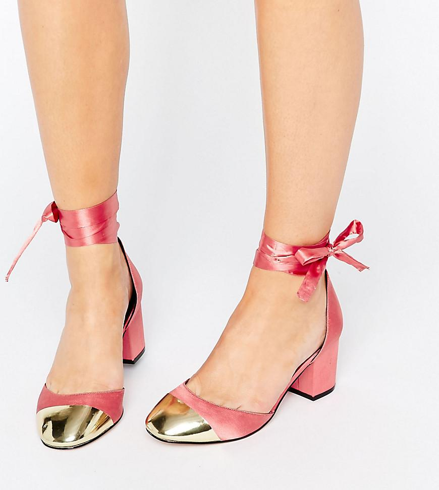 Lyst - Asos Show Time Wide Fit Ribbon Lace Up Heels in Pink