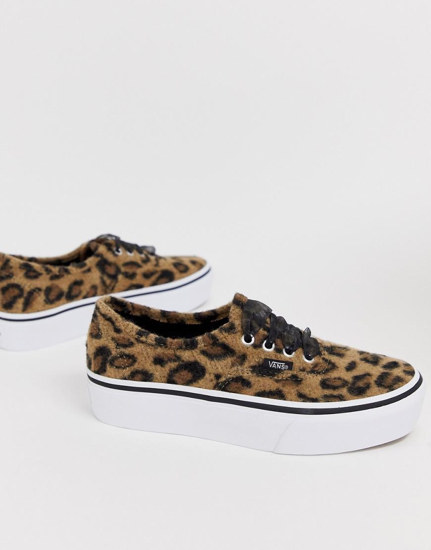 4f77b086cd5478 Vans. Women s Authentic Leopard Platform Trainers