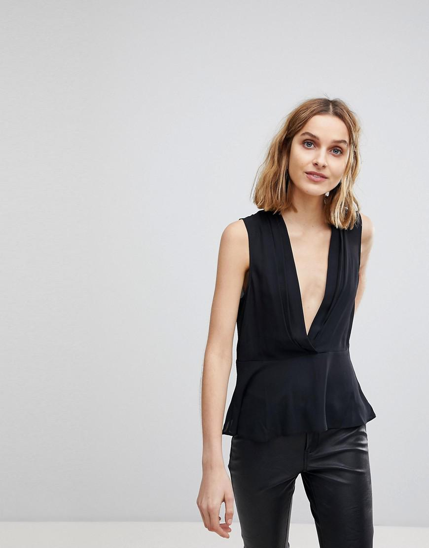 Find Great Online Buy Newest DESIGN Drape Plunge Top - Black Asos Free Shipping Choice Manchester Online 669NZ4n2rG