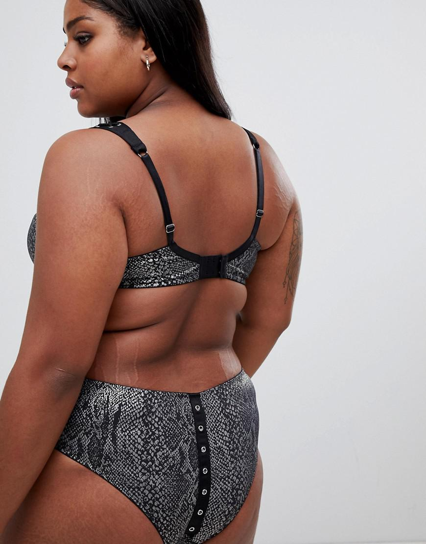 79b9c236414 Lyst - Figleaves Curve Snake Print Lace Up Brazilian Brief in Black