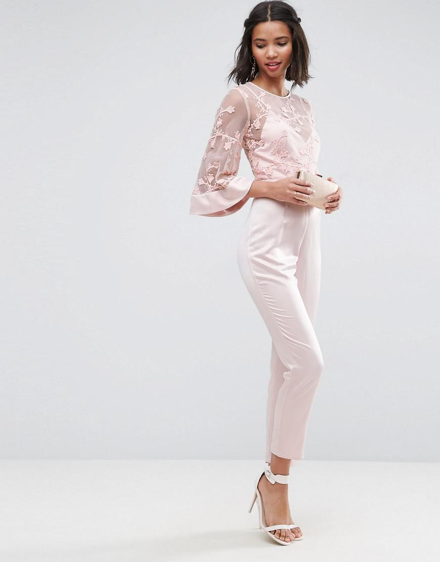 38d9f126c210 Lyst - ASOS Jumpsuit With Lace Bodice And Contrast Satin Trouser in Pink