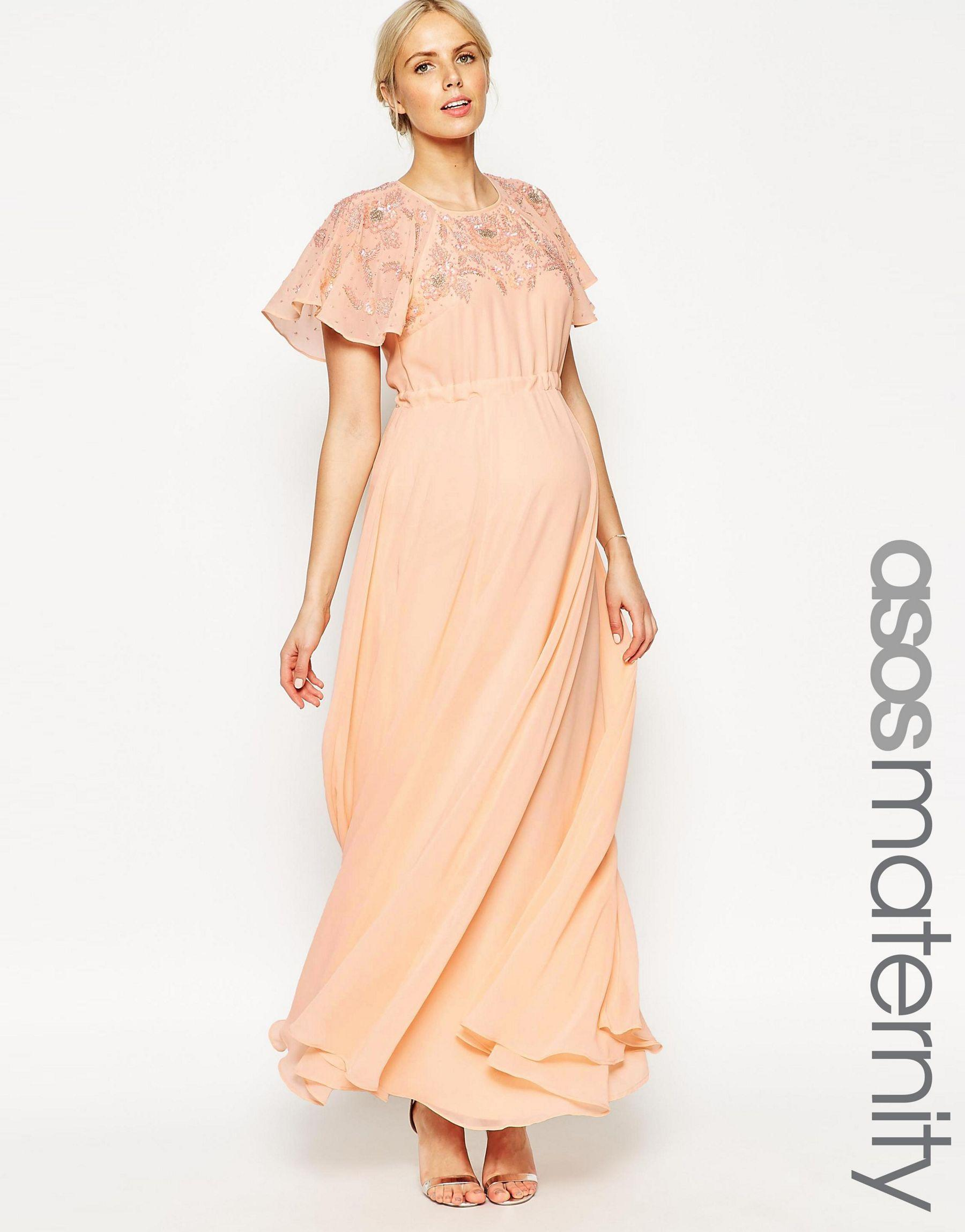 Asos maxi dress with embellishment and flutter sleeve in natural gallery ombrellifo Choice Image