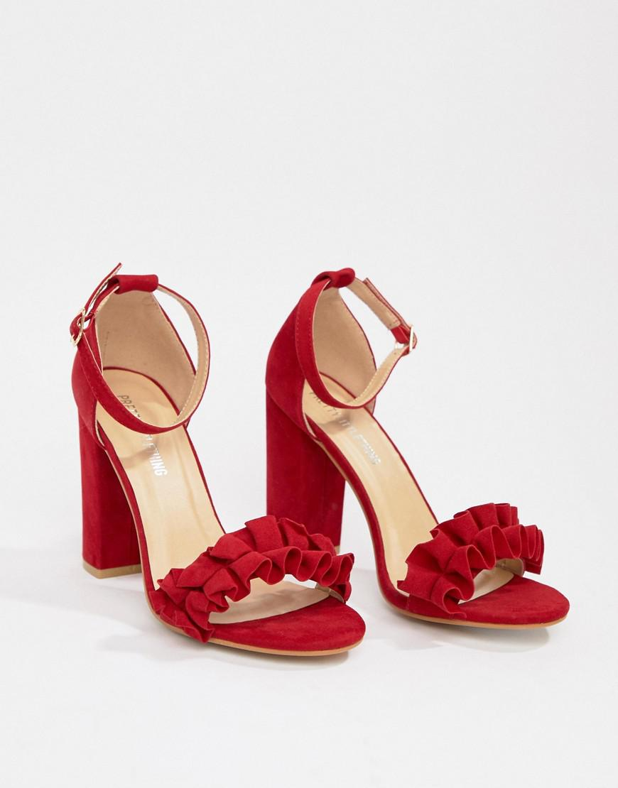 b4c931b20d9 Lyst - PrettyLittleThing Ruffle Block Heeled Sandals In Red in Red