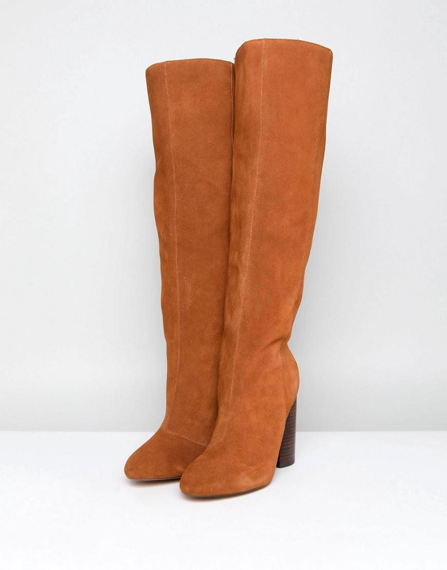 Perfect Cheap Online CABRINIE Suede Pull On Knee Boots - Tan suede Asos Outlet Lowest Price For Sale 2018 8ZuNno