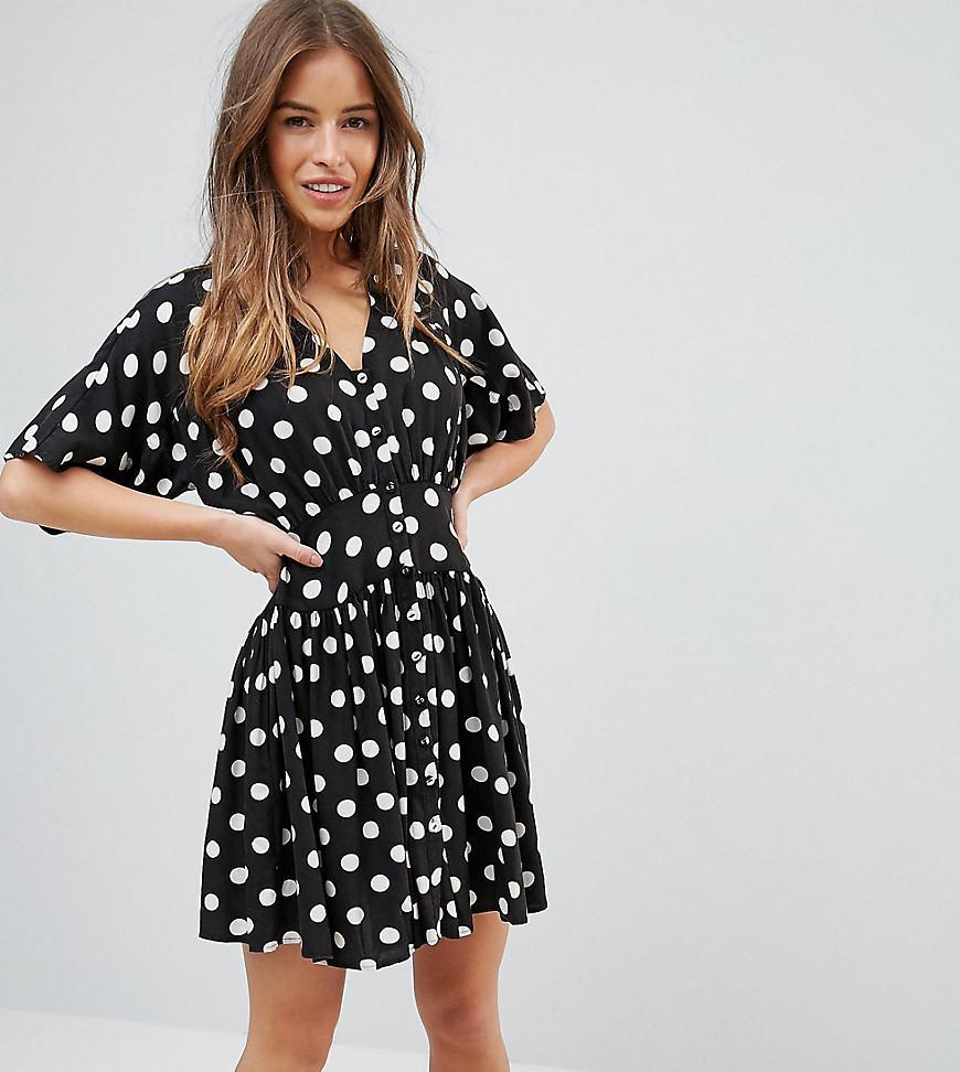 Mini Tea Dress With Tie Back In Polka Dot - Navy/white Asos Petite FhQEIeKI