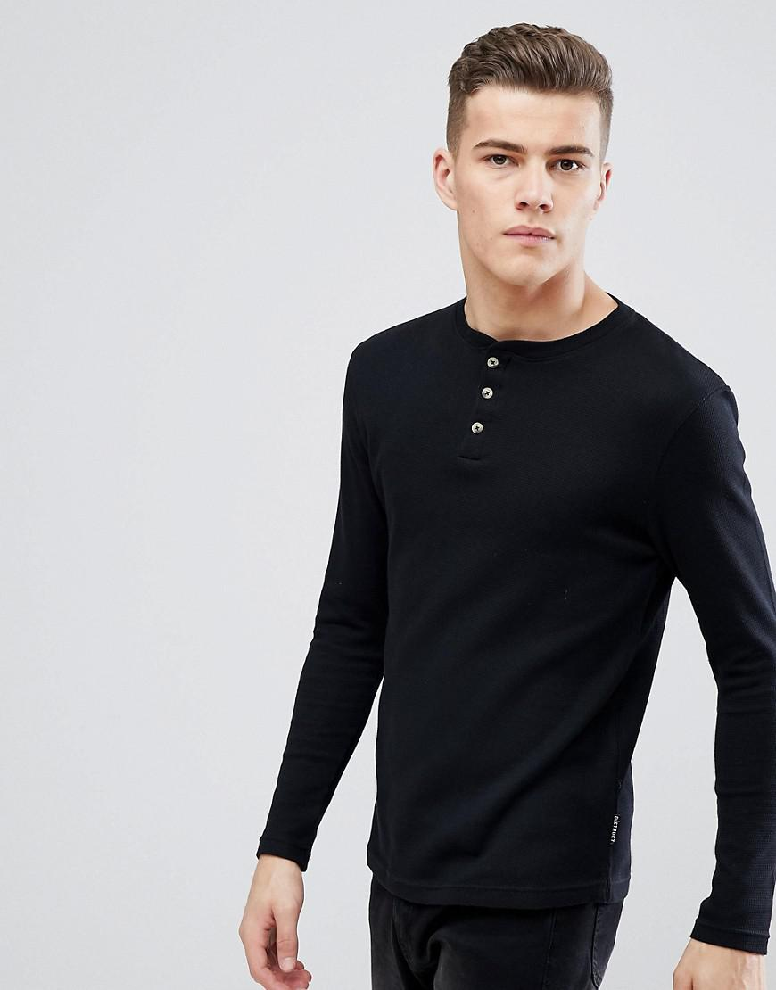 Outlet Collections For Sale Buy Authentic Online PLUS henley Neck Long Sleeve Top - Black D-Struct roRTSZQV