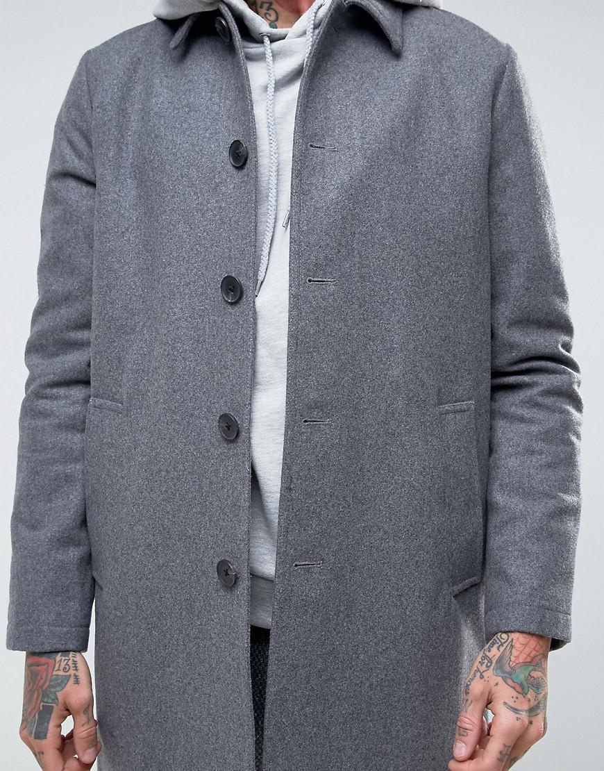 5b3016c2230e ASOS Wool Mix Trench Coat In Light Grey Marl in Gray for Men - Lyst