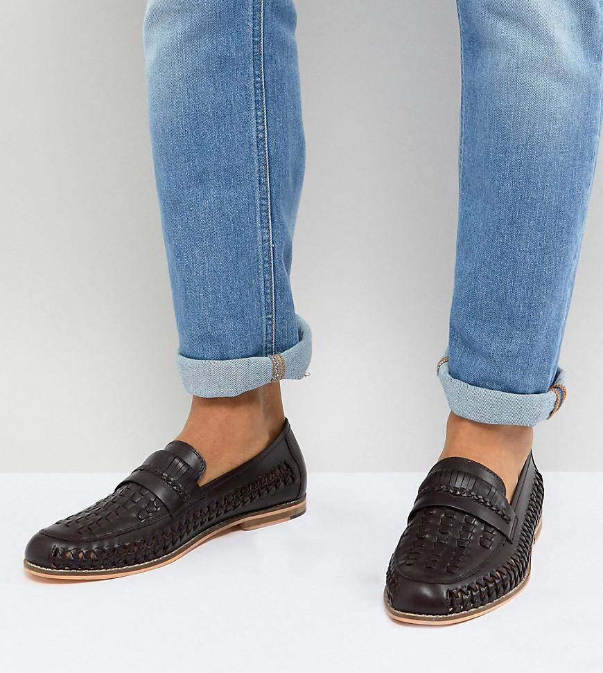 585cf4380b5 Frank Wright Wide Fit Woven Loafers In Brown Leather in Brown for ...