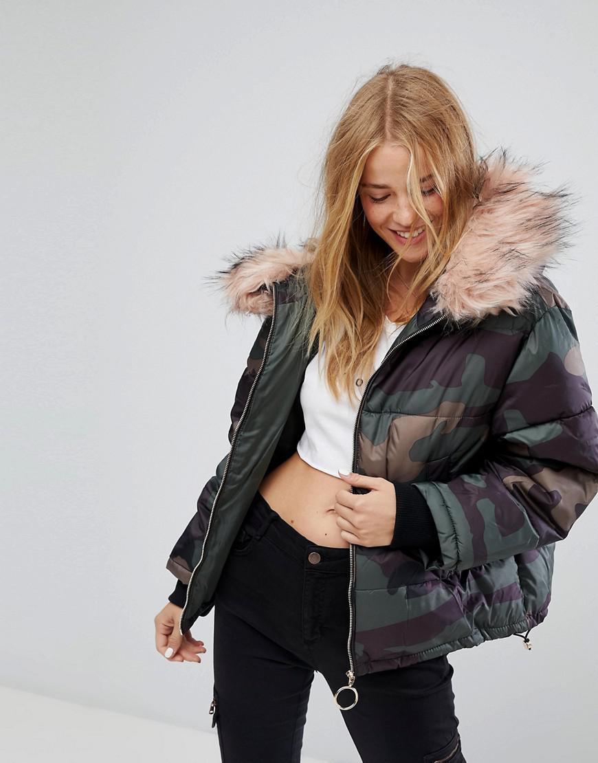 Pull&Bear Denim Camo Puffer Jacket in Green - Lyst