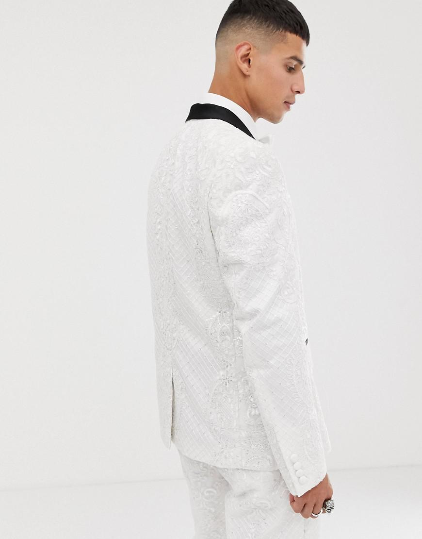 88d73a88383 ASOS Skinny Tuxedo Suit Jacket In Sequin And Lace Embellished White Sateen  in White for Men - Lyst