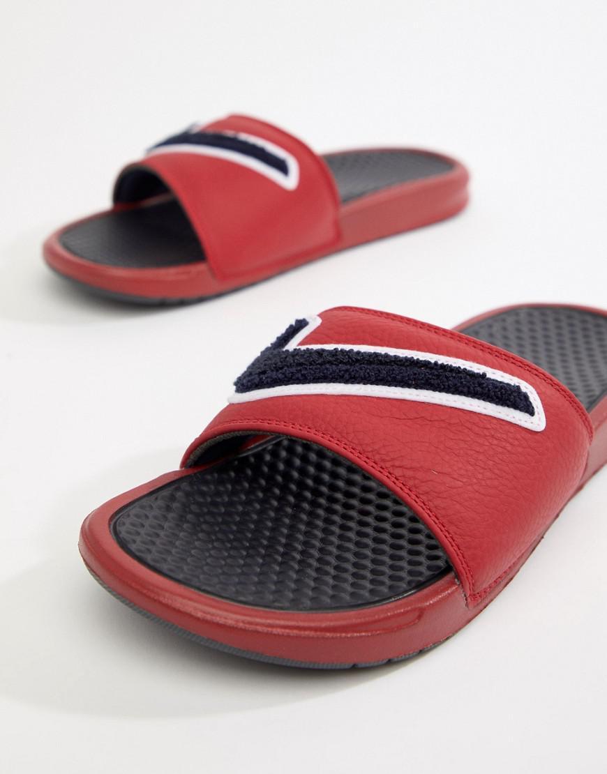 5b967307e908fb Nike Benassi Jdi Chenille Sliders In Red Ao2805-600 in Red for Men ...