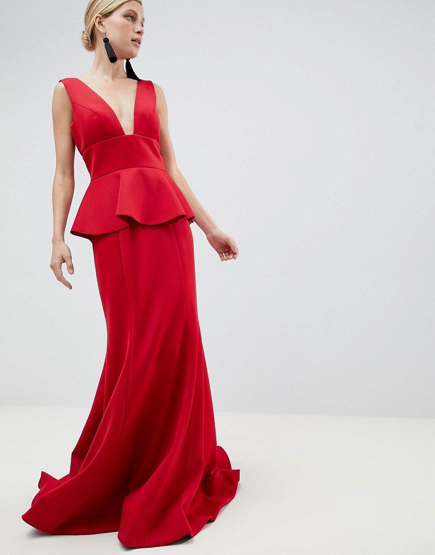 703831738cc0f Jovani Peplum Maxi Dress in Red - Lyst