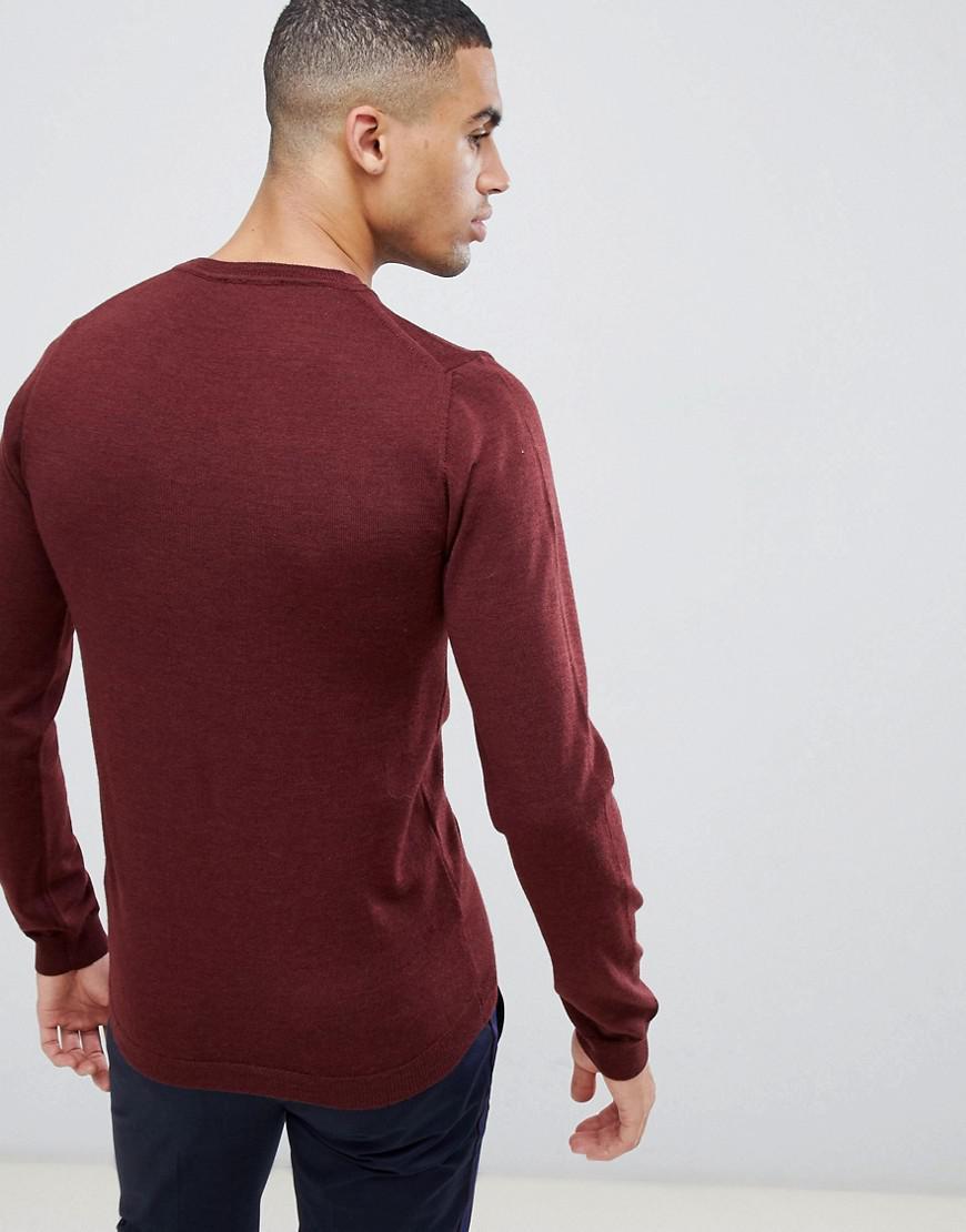 cf3045b1 Lyst - ASOS Asos Muscle Fit Merino Wool Jumper In Burgundy in Red for Men