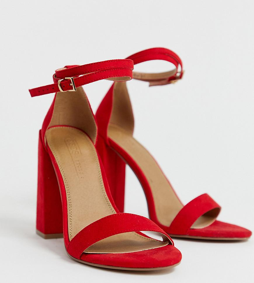 36a8b13a224 ASOS Wide Fit Highlight Barely There Heeled Sandals in Red - Lyst