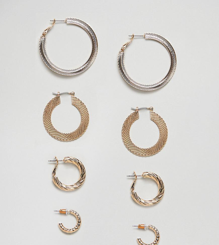 DESIGN Pack Of 3 Vintage Style Etched Hoop Earrings - Gold Asos L0qrkzR