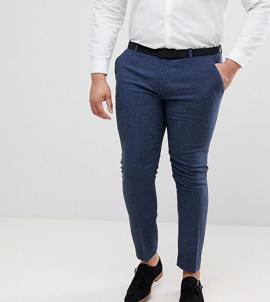 DESIGN Plus Wedding Skinny Suit Trousers In Dusky Pink Herringbone - Pink Asos HGAanb