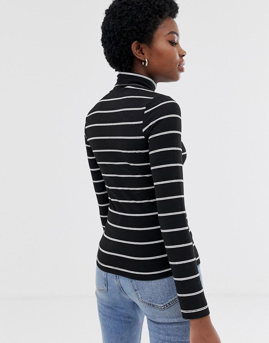 5f6042d1af8 ASOS Asos Design Petite Turtle Neck Long Sleeve Top In Stripe in Blue -  Save 10% - Lyst