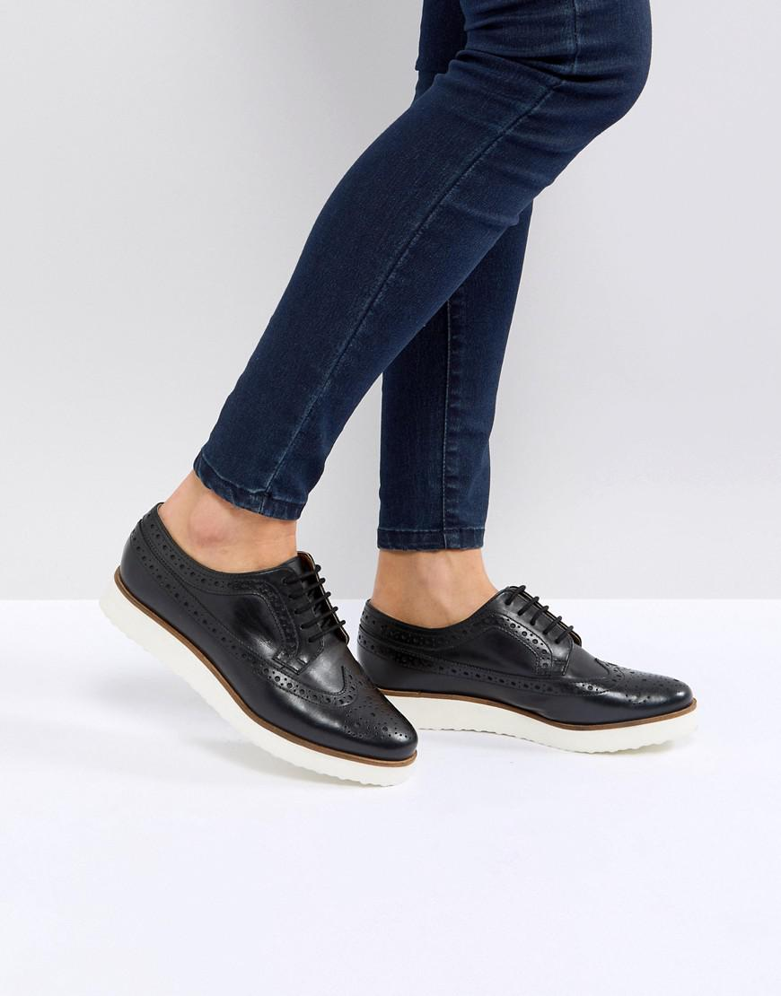 ASOS DESIGN Marce Leather Flat Shoes NWFO5