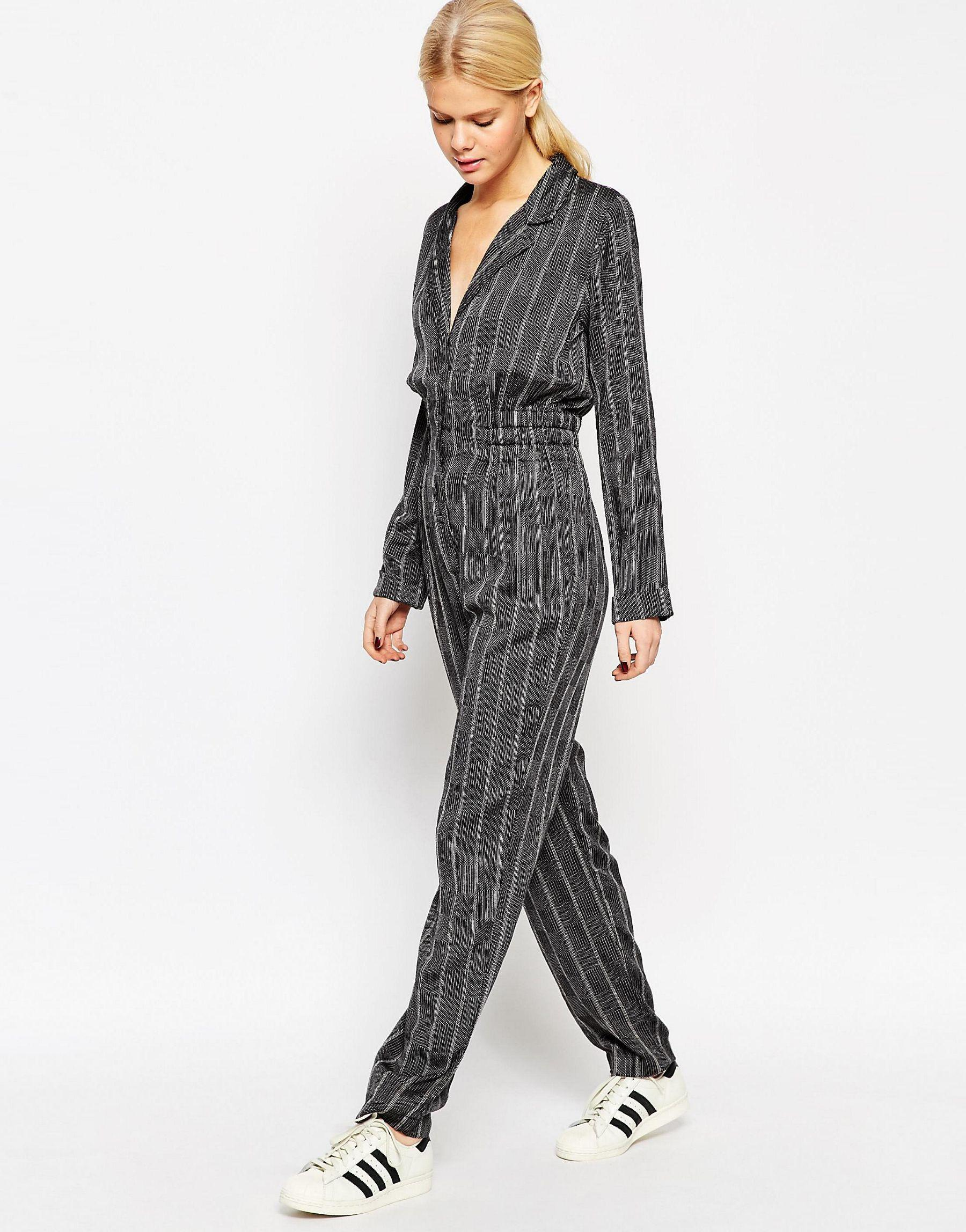Asos Womens Button Front Gathered Waist Jumpsuit Mono - Jumpsuits & Rompers