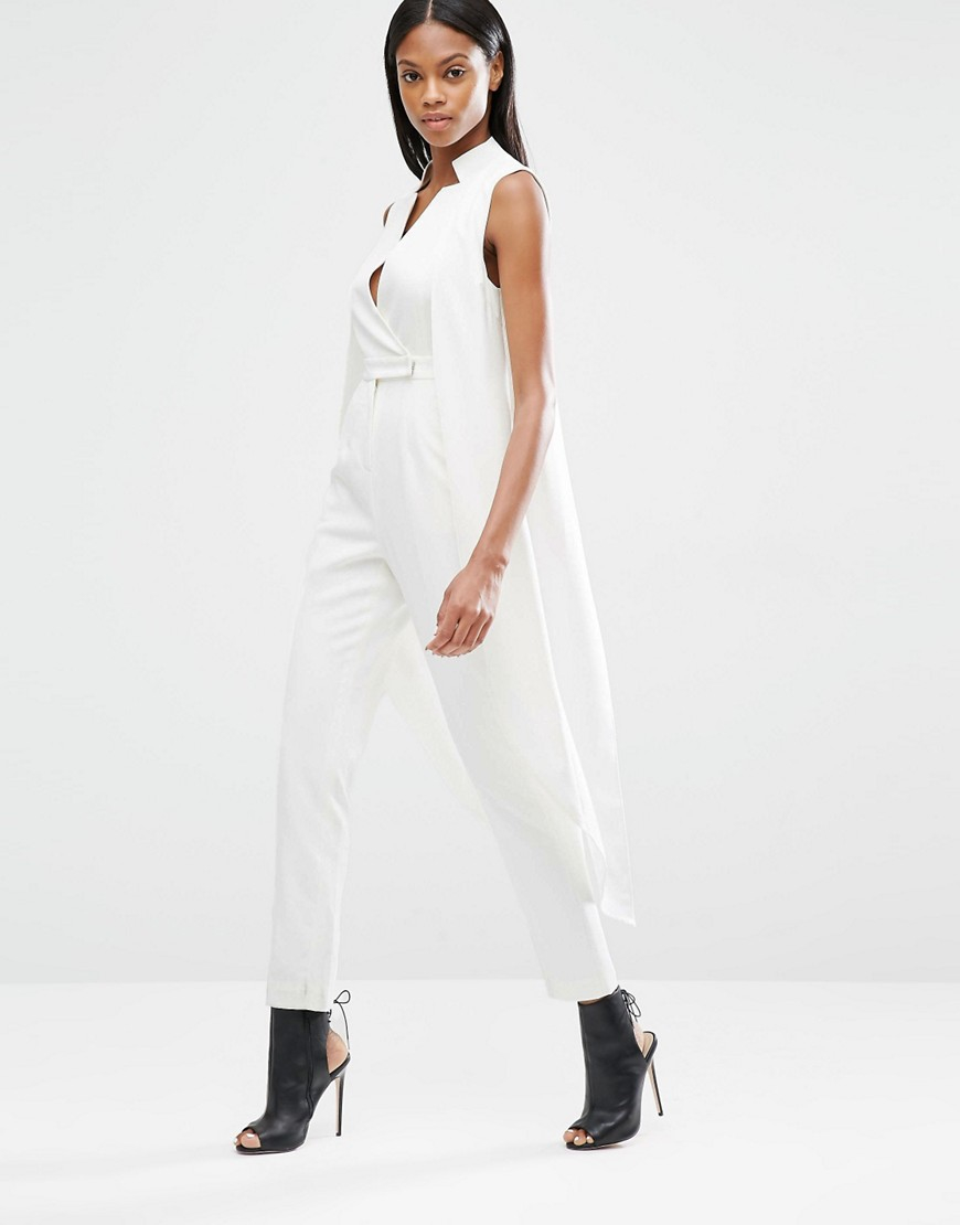 4b6dcaab91f Lyst - Lavish Alice Waistcoat Tailored Jumpsuit in White