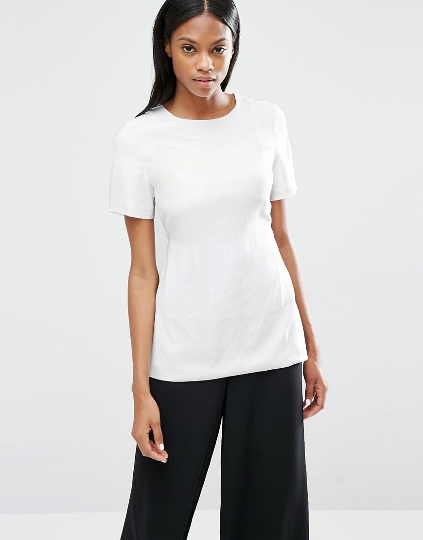 Lyst lavish alice open tie back t shirt in white for How to make a tie back shirt