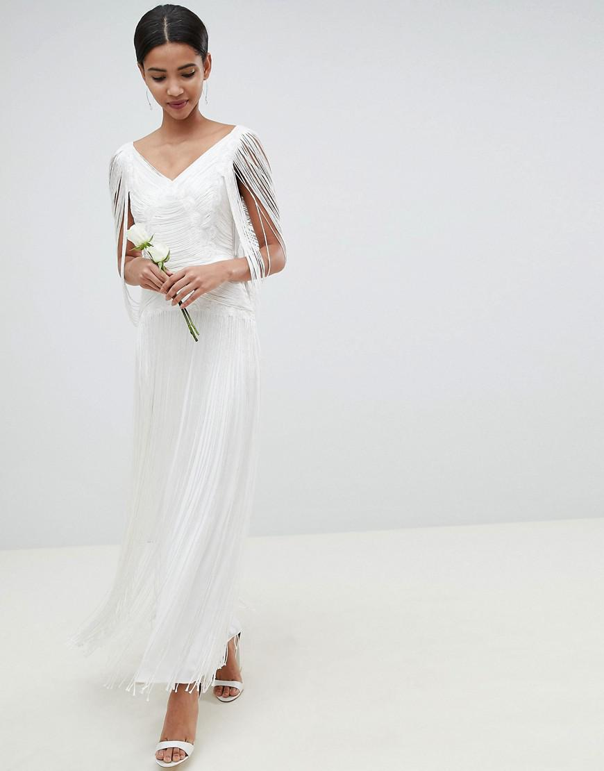 751e738448df9 ASOS - White Fringe Maxi Wedding Dress - Lyst. View fullscreen