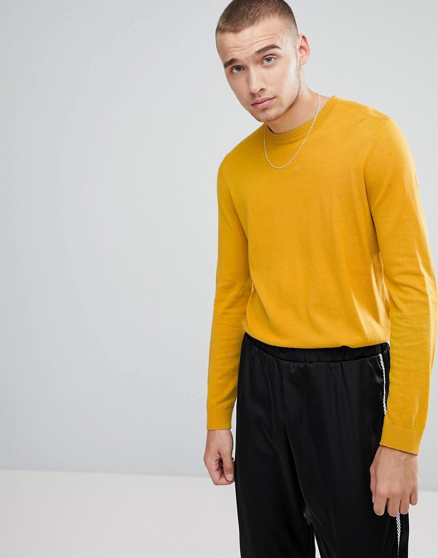 Asos Crew Neck Cotton Jumper In Mustard in Yellow for Men | Lyst