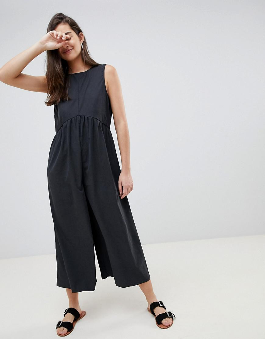 1281f7ac02076 Lyst - ASOS Minimal Jumpsuit With Ruching Detail in Gray