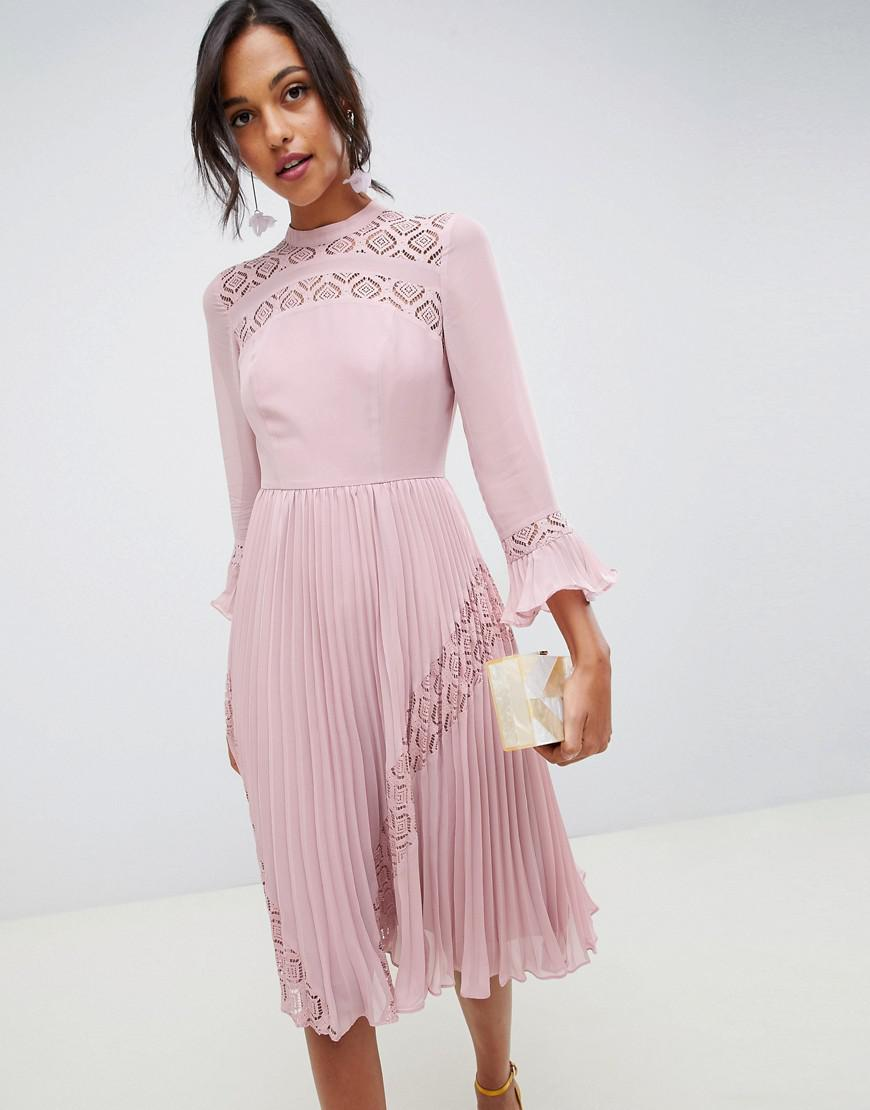 fbb7ee67cb3 ASOS Asos Lace Midi Dress With Lace Frill Sleeve - Blue .