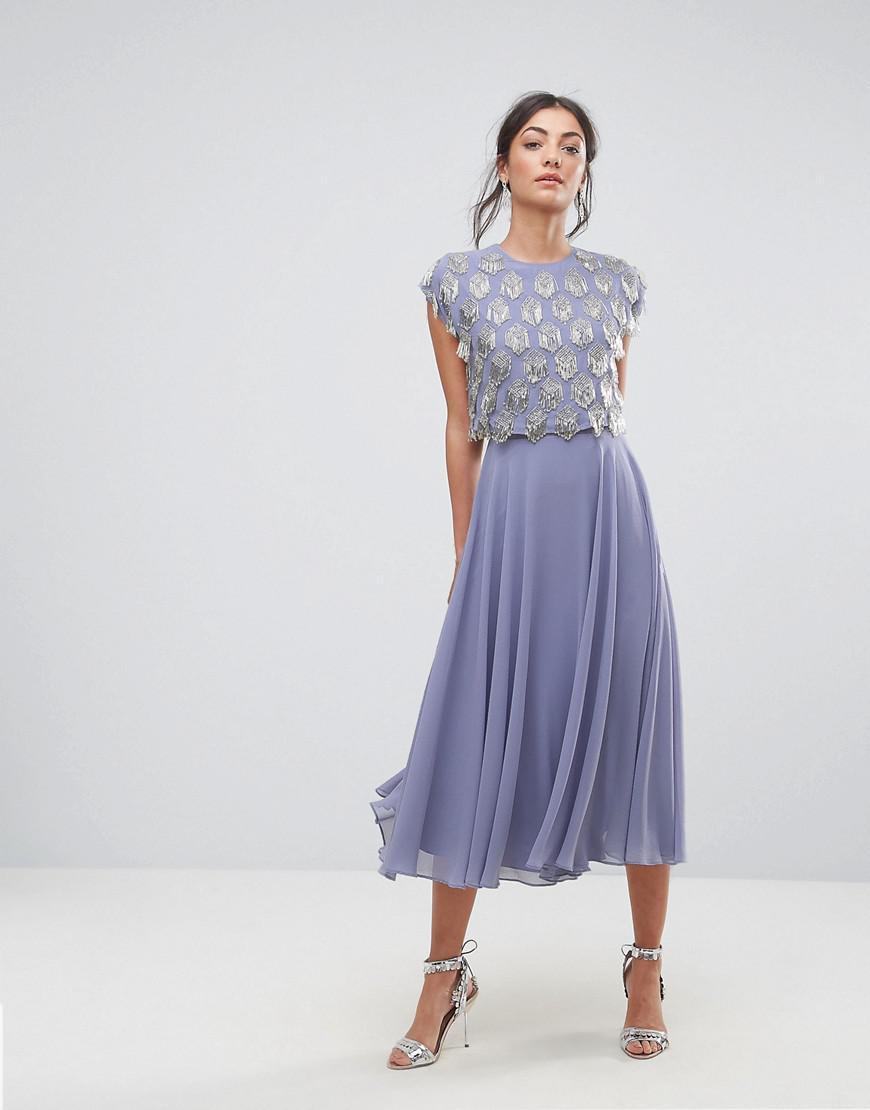 e5477202e6 ASOS Fringe Embellished Crop Top Midi Skater Dress in Purple - Lyst