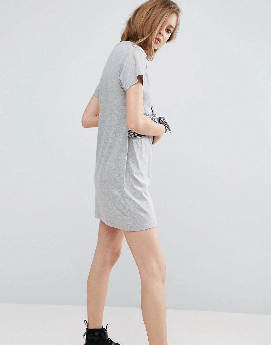 bc29a50e921a ASOS T-shirt Dress With Gingham Bustier Wrap Detail in Gray - Lyst