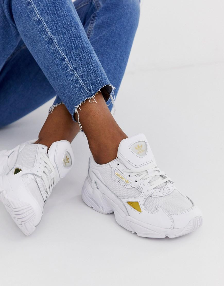 56245299b72 Lyst - adidas Originals Falcon Sneakers In White And Gold in White