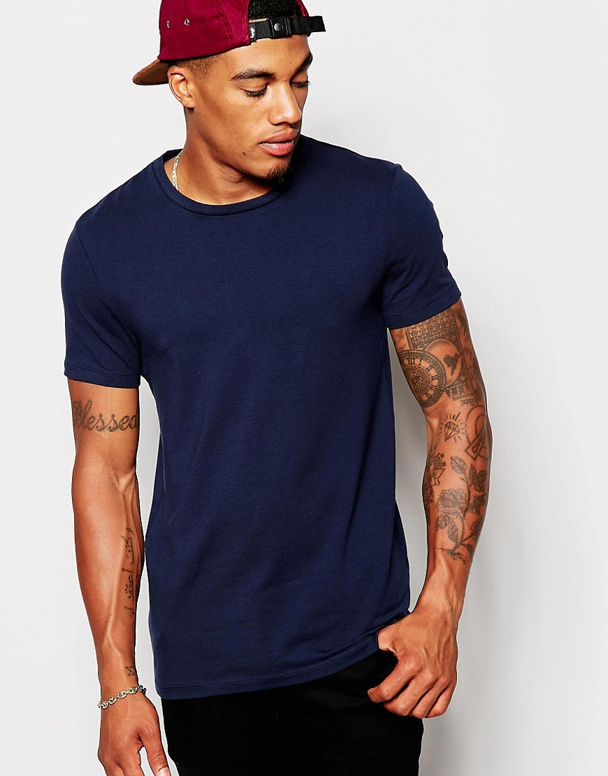 Lyst asos muscle fit t shirt with crew neck and stretch for Dress shirts for bodybuilders