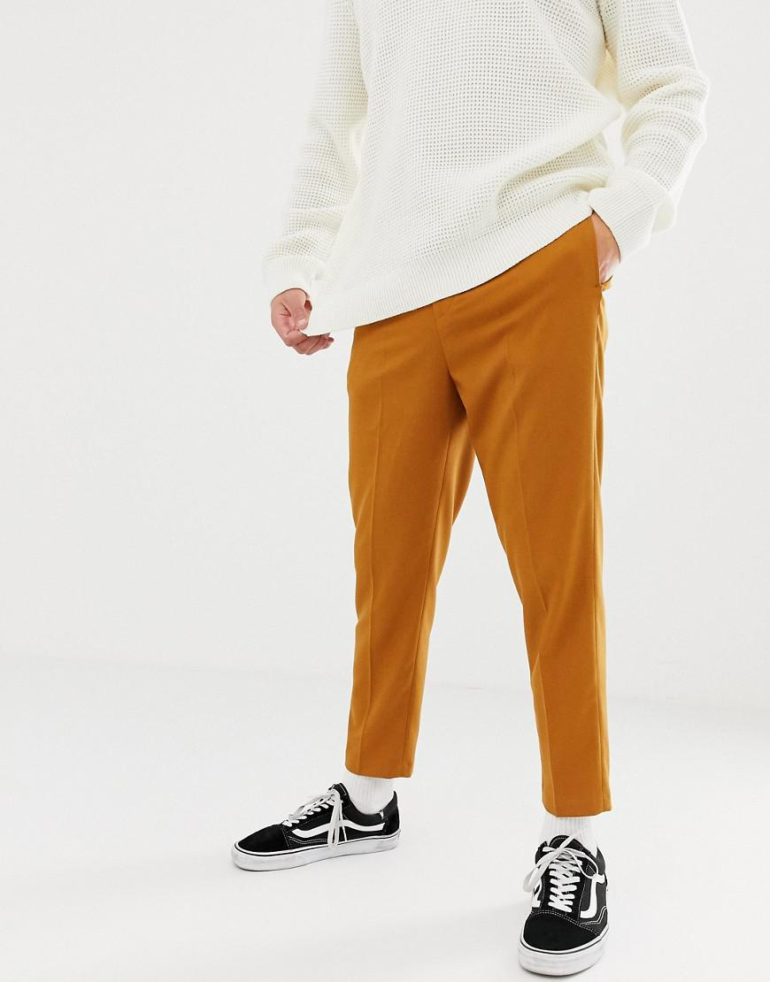 280d248f2094 Asos Tapered Crop Smart Pant With Pleats In Camel in Natural for Men ...