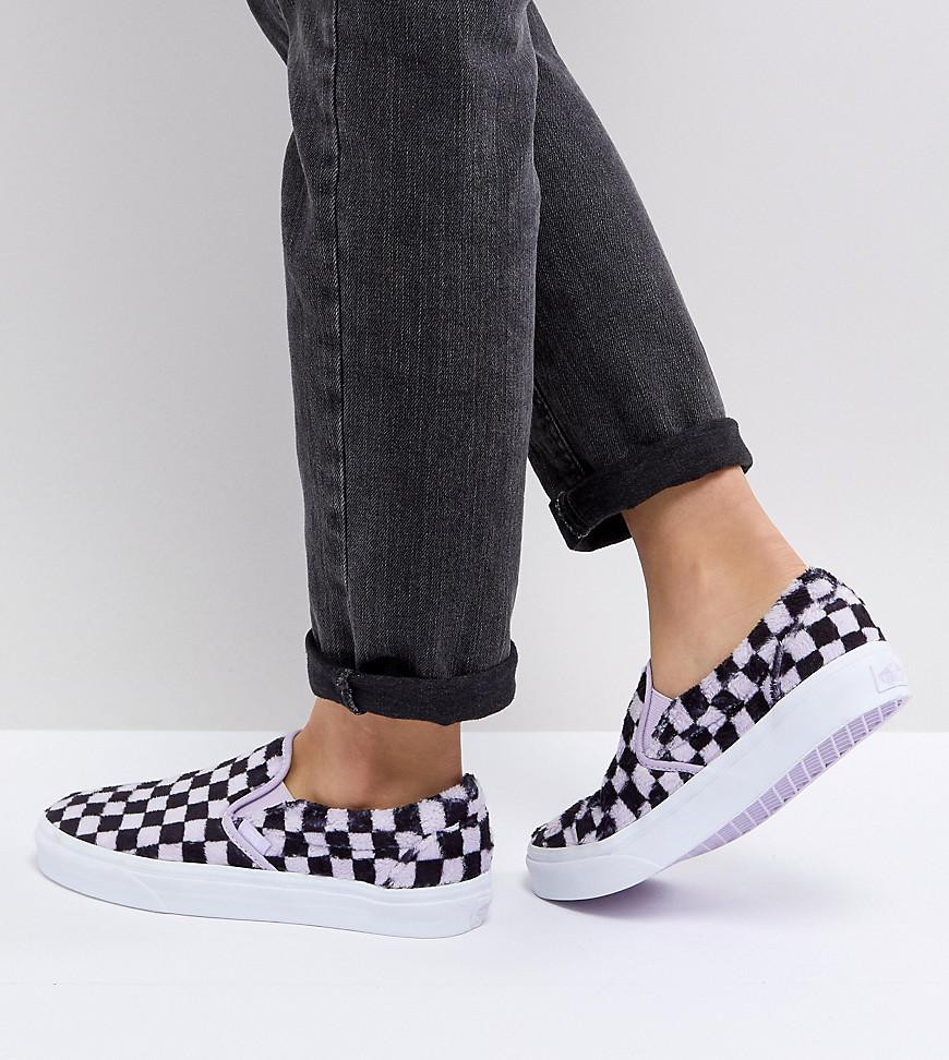85b9eaaecd Vans Fluffy Lilac Checkerboard Slip On Trainers in Purple - Lyst