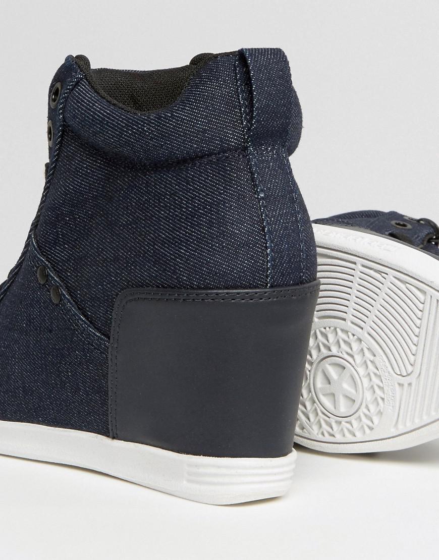 0bdd2bf8680 Lyst - G-Star RAW New Labor Denim Wedge Sneakers in Blue