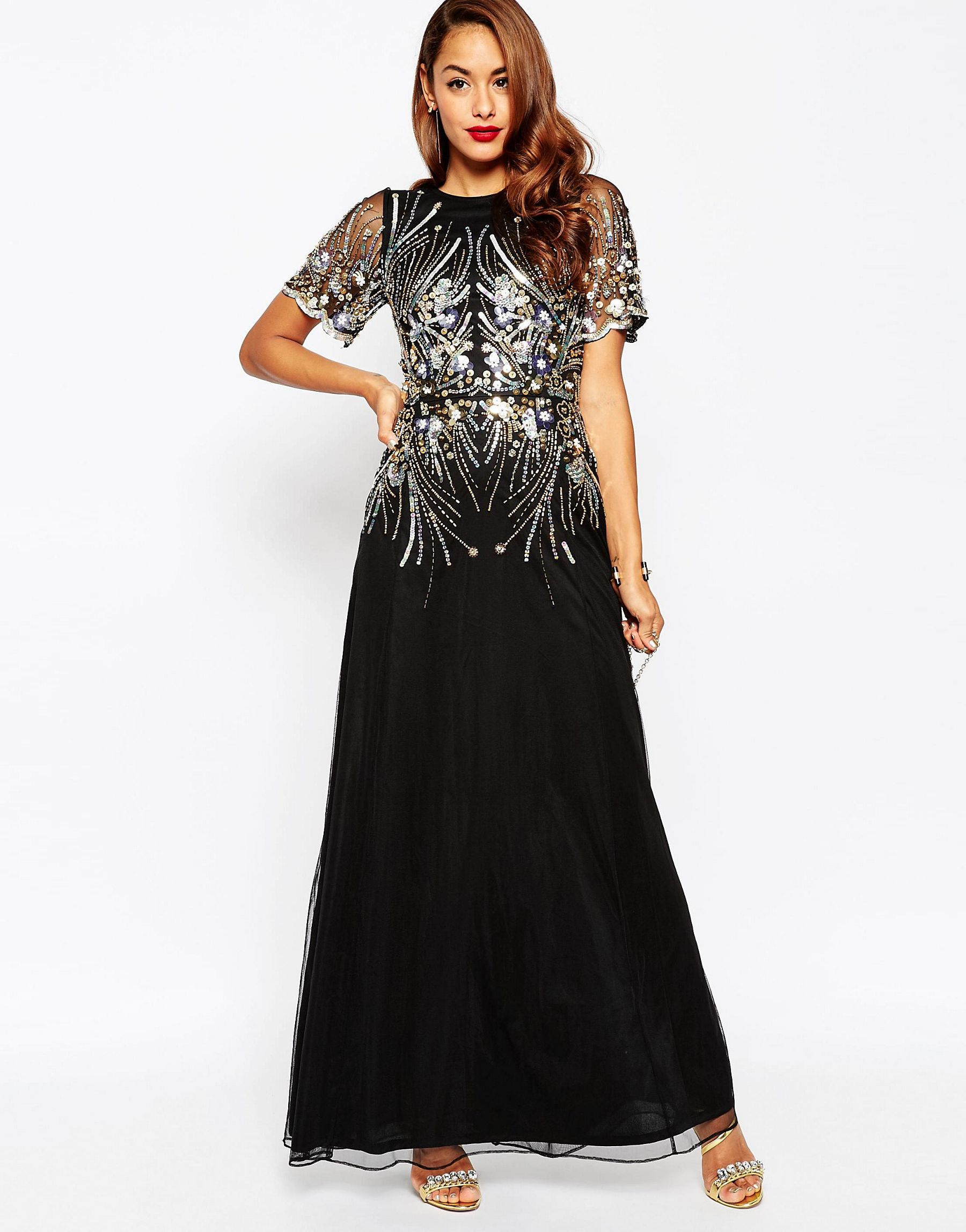 Asos Red Carpet Gold And Black Sparkle Mesh Maxi Dress in ...