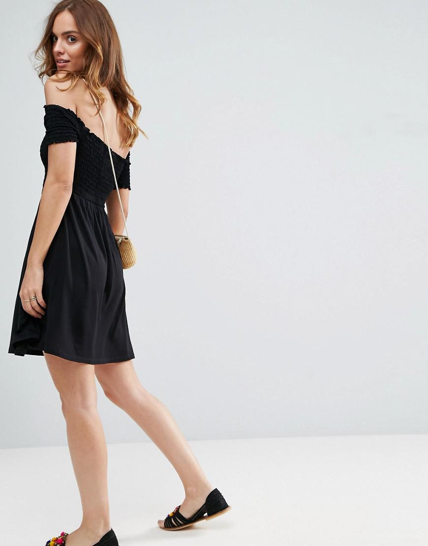 0a65385e690 ASOS Off Shoulder Sundress With Shirring in Black - Lyst