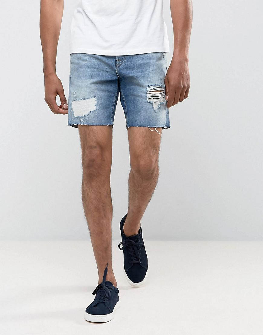 Regular Fit Denim Shorts With Rips In Mid Wash - Blue Burton Menswear OO1vlne