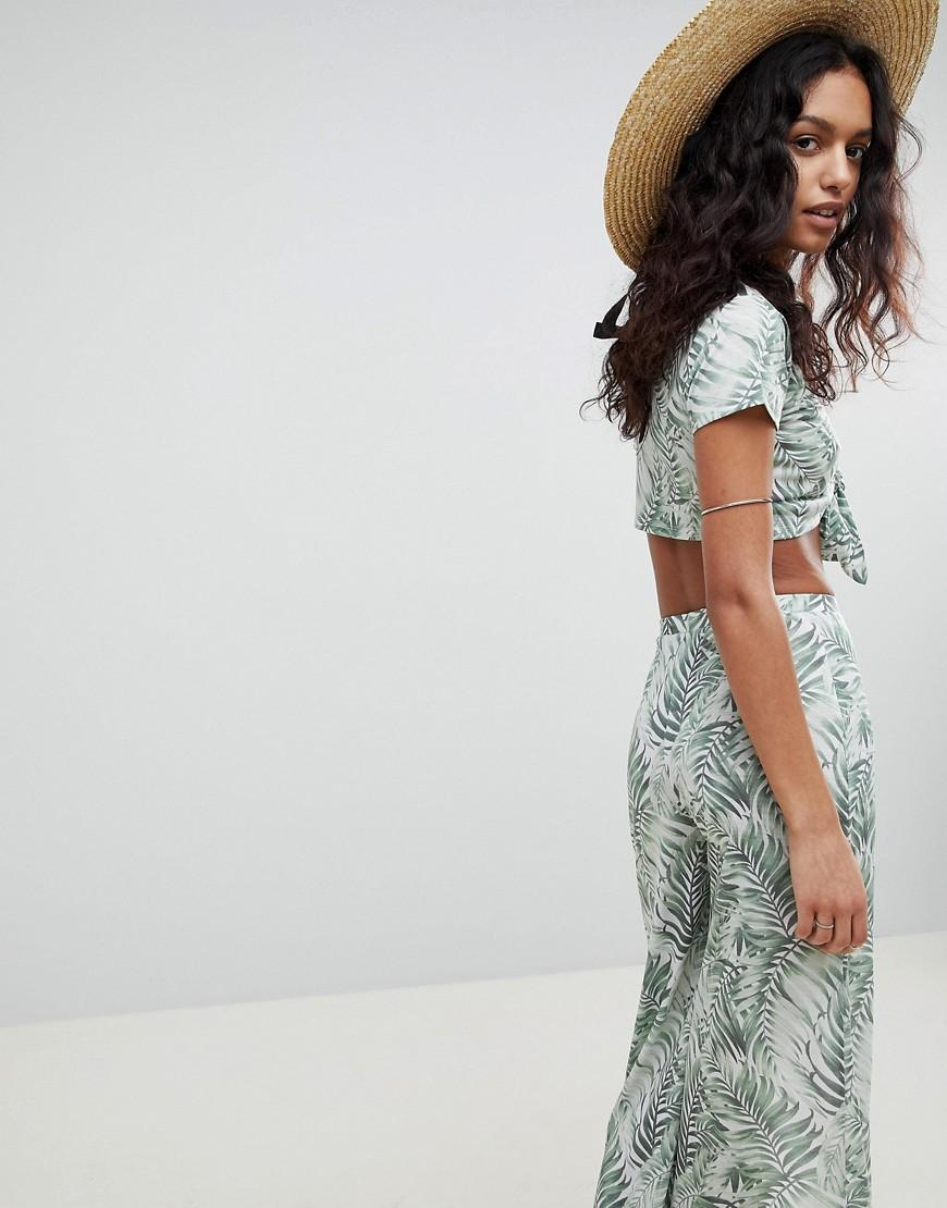 7fc30ca91e0 ASOS Tropical Print Tie Front Jersey Beach Two-piece Top - Lyst