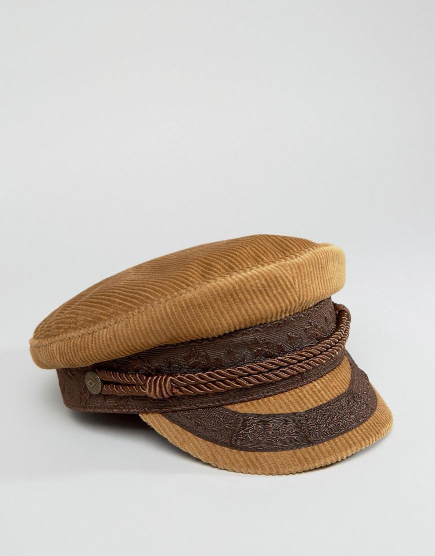 Lyst - Brixton Cord Baker Boy Hat in Brown f089a3b2e06
