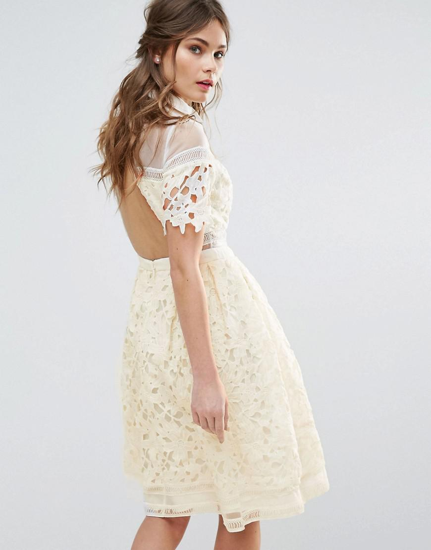 38bcf8197ebbc Chi Chi London Premium Lace Paneled Dress With Contrast Collar in ...