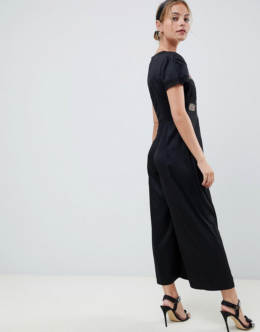 90494337181 Lyst - Asos Asos Design Petite Tea Jumpsuit With Embroidery And Lace Insert  in Black