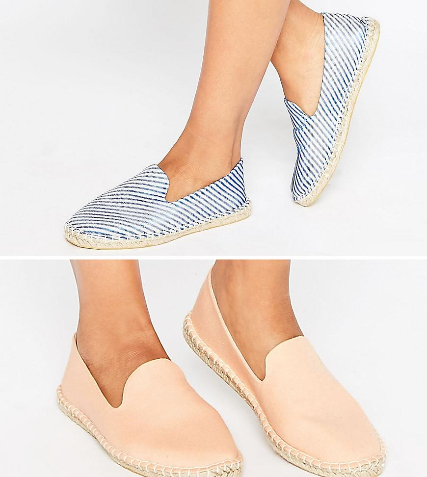 JEANIE Two Pack Espadrilles - Multi Asos