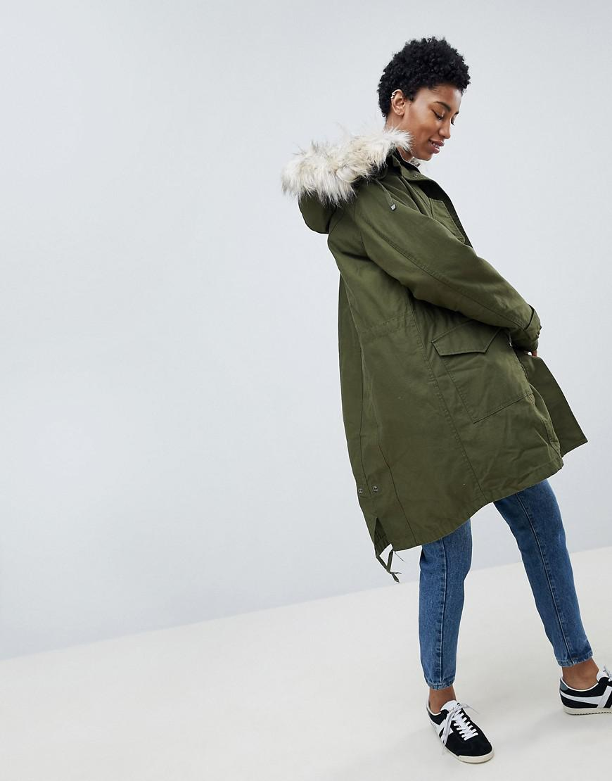 708538d1c03f7 Lyst - ASOS Oversized Parka With Padded Liner in Green