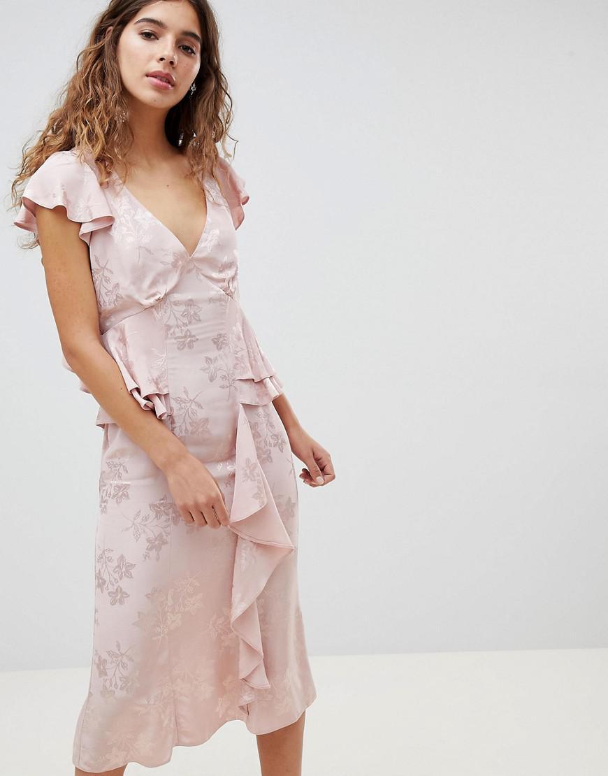 Professional Online ASOS DESIGN jacquard embroidered midi tea dress Factory Outlet Sale Online Sale Recommend Discount High Quality 7La83b