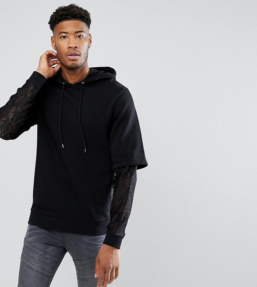 TALL Oversized Hoodie With Double Layer Lace Sleeve - Black Asos Sale Shop Cheap Amazon Buy Cheap Classic RYmhP
