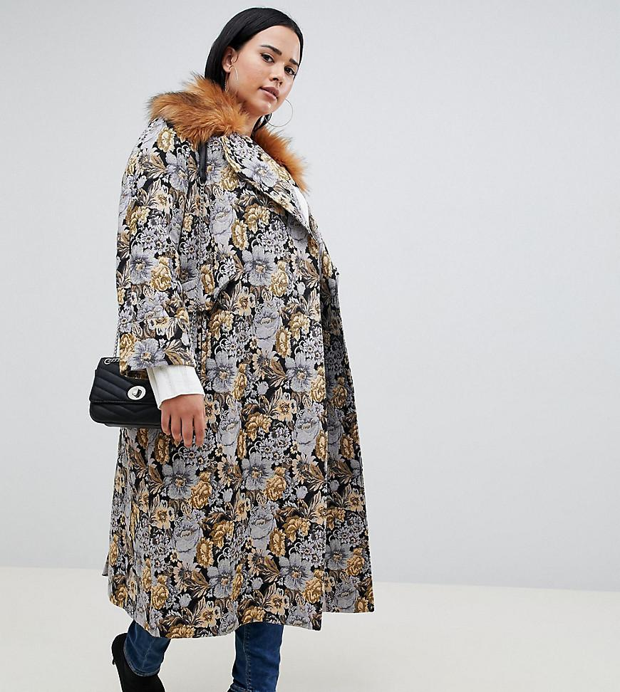 c688be08073 ASOS. Women s Asos Design Curve Tapestry Coat With Faux Fur Collar