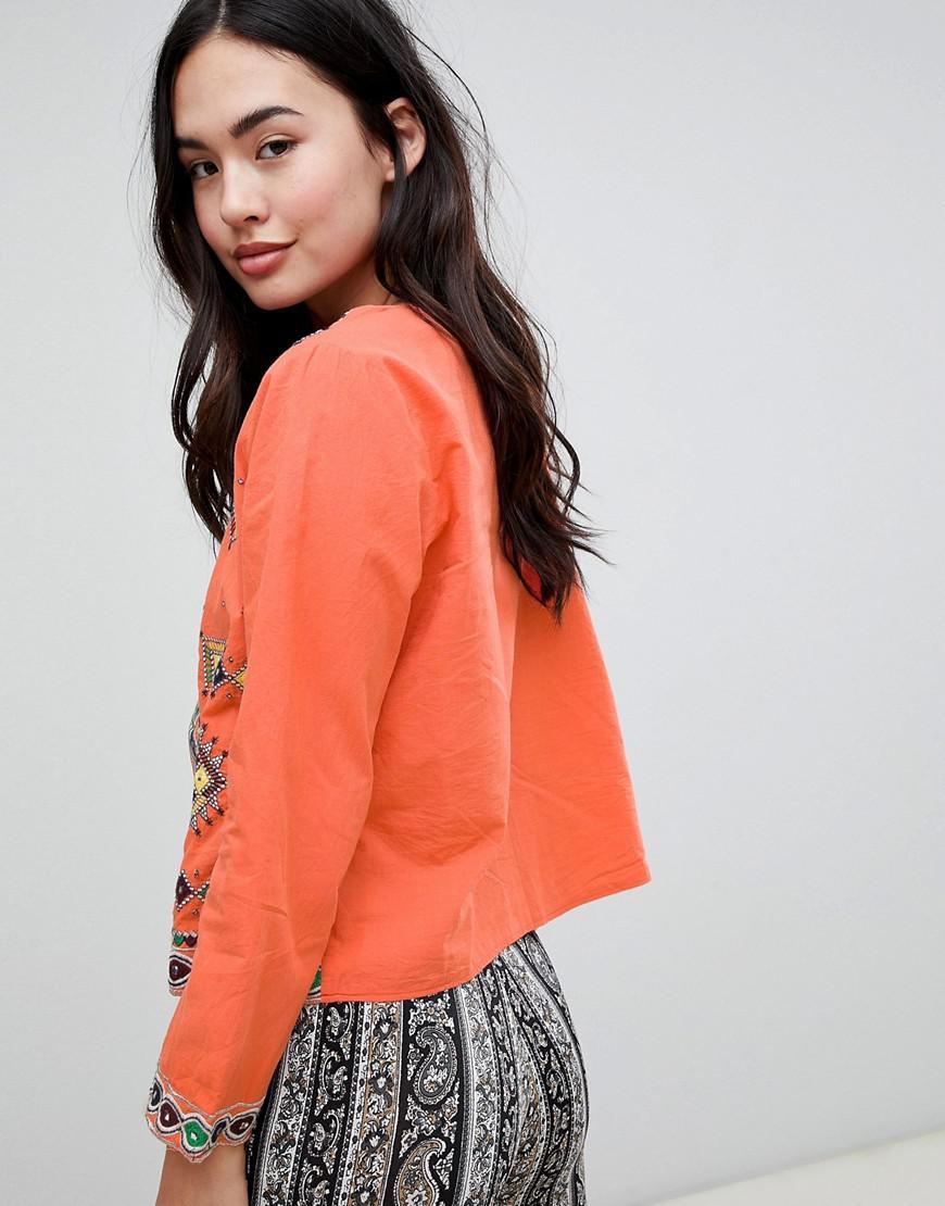 En Orange Lyst Effet Coloris Glamorous Broderies Miroir Veste wwqaS1p
